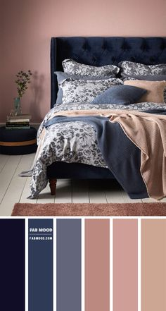 Grey Colour Scheme Bedroom, Blue Bedroom Colors, Dark Blue Bedrooms, Blue Gray Bedroom, Blue Color Schemes, Color Schemes For Bedrooms, Midnight Blue Bedroom, Interior Design Color Schemes, Blue Wall Colors
