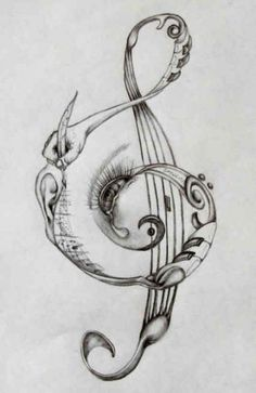 Treble clef design (in color) on right ribs/hip. Treble clef design (in color) on right ribs/hip. Music Tattoo Designs, Music Tattoos, Body Art Tattoos, Piano Tattoos, Music Designs, Music Drawings, Drawing Sketches, Art Drawings, Drawing Music Notes