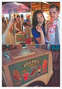 """""""ben and jerry's"""" ice cream cart filled with your own ice cream purchases and a cute custom sign... -Thinking this would be so cute, in the middle of the night the newlyweds could wheel it out and deliver ice cream to everyone...or cheeseburgers would be cute too!"""