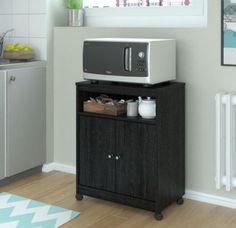 Spacious Microwave Cart With Open Shelf Kitchen Furniture Black Ebony Ash Finish