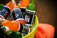 Bride and Groom's photo on Jones Soda's for reception drinks. Cute idea!   Wedding by Southern Event Planners