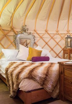 Mick Jagger goes glamping in this luxury tent.