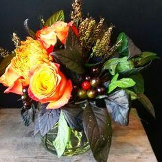 Fall arrangement. September 23, 2015. #Nativeflowercompany #fallflowers #utahflorist #roses