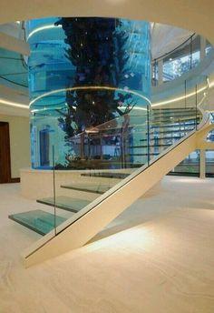 Quiero las escaleras en La casa con grande un tanque de peces.