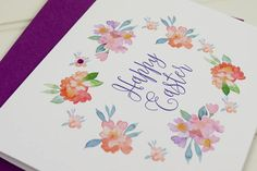 Happy Easter Card Floral Easter Card Pretty Easter Card for