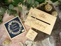 Zaproszenia ślubne laserowe, drewniane dodatki i dekoracje Save The Date, Place Cards, Place Card Holders, Alcohol, Wedding Invitation