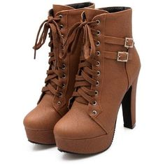 Susanny Women Autumn Round Toe Lace Up Ankle Buckle Chunky High Heel... ($18) ❤ liked on Polyvore featuring shoes, boots, ankle booties, high heel ankle boots, platform ankle boots, chunky-heel ankle boots, wide width ankle boots and lace up platform booties