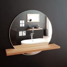 Miroir BALI rond Ø60 cm, avec étagère en teck