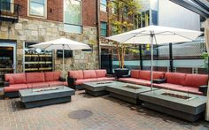 Mare Oyster Crudo and Seafood Bar in the North End - patio with fireplace adjacent couches