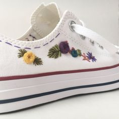Hand embroidered converse embroidered flowers by PFPosey on Etsy