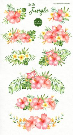 Watercolor Flowers Discover In the Jungle Watercolor Clipart Woodland Animals Kids Clipart Nursery Decor Watercolor Leaf Wedding Clip Art Tropical Clipart Sloth In the Jungle Watercolor Clipart Woodland Animals Kids Watercolor Leaf, Watercolor Clipart, Watercolor Flowers, Watercolor Paintings, Watercolor Wedding, Drawing Flowers, Tropical Flower Tattoos, Tropical Flowers, Tropical Fruits