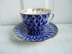Old Russian Porcelain Tea Cup and Saucer in Cobalt and Gold by Lomonosov