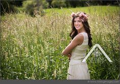 Gorgeous senior pictures in a field. Love the flower headband too. #arisingimages #michigan #seniorpics #seniors #rural #photoshoot
