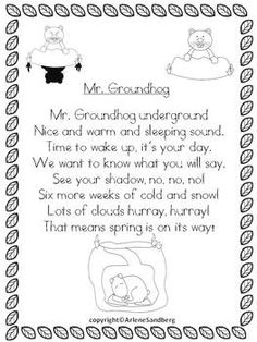 Groundhog Day - Fluttering Through February with Poems: Grades 1-2