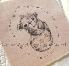 Original Pen Ink Fabric Illustration Quilt Label by Michelle Palmer Teddy Bear Ball Stars August 2014