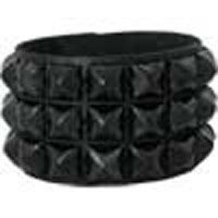 3 Ring Black Pyramid Bracelet by Ape Leather