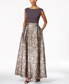 Calvin Klein Printed A-Line Gown Women - Dresses - Macy s 8c4c6fc5dba