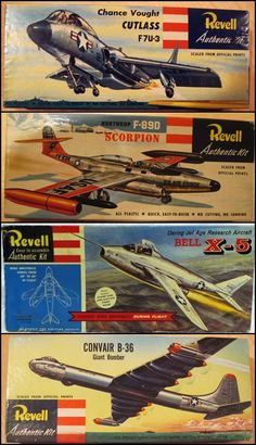 A nice collection of Revell scale models of the fifties, showung the F 7U Chance Voigt Cutlass, the F 89 Scorption, the Bell X 5 with its swing wings and the very large B 36 intercontinental bomber.