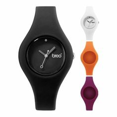 For the indecisive watch wearer, Breo presents our 4-in-2 Curve watch pack. 2 different coloured faces and 4 different coloured straps. #breo #black #white #orange #purple #watch #watches