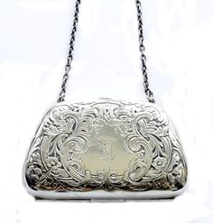 For the bridesmaids.This is so different - it's an antique, sterling silver, Chatelaine Calling Card Case. Vintage Purses, Vintage Bags, Vintage Handbags, Vintage Items, Antique Jewelry, Vintage Silver, Antique Silver, Silver Purses, Shoes
