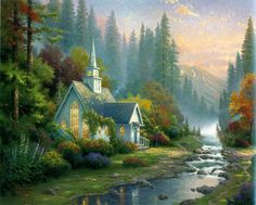 Wall Art Thomas Kinkade Forest Chapel - Art Prints Painting on Canvas for Home Decor Bedroom and Living Room  Unframed 1 Piece *** Learn more by visiting the image link. #HomeDecor