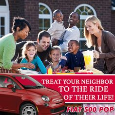 Celebrate National Good Neighbor Day by treating your neighbor to the ride of their life in the 2015 Fiat 500 Pop. 2015 Fiat 500, Fiat 500 Pop, Lease Specials, Your Neighbors, Good Neighbor, San Diego, Couple Photos, City, Celebrities