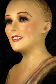 Art Deco Mannequin Wax Bust with Glass Eyes and Porcelain Teeth