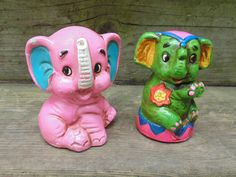Two 2 ELEPHANT BANKS Mod Hippie Chalkware / Plasterware Japan vintage 1960s by RedHouseShops on Etsy