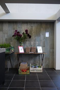 The home of VT Wonen at the #woonbeurs 2012 Kitchen wall with tiles from the VT Wonen collection in an old wood look from Douglas & Jones