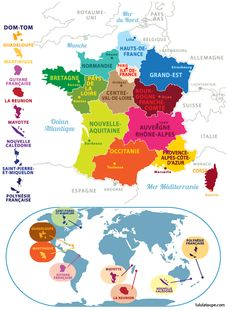 French School, French Class, Outre Mer, French Language, Continents, Teaching Resources, Map, Activities, Trier