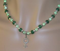 Jade Green and Silver Female Charm Necklace and by Ricksiconics, $32.00