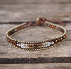 Brown mix seed beaded Single Wrap bracelet with Chain by G2Fdesign
