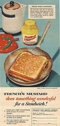 Vintage ad - French's mustard - Grilled cheese sandwiches