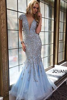 Blue Mermaid Embellished Gown 98040