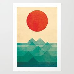 Art Print featuring The Ocean, The Sea, The Wave by Budi Kwan