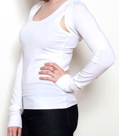 White two piece set ideal for a summer day with the option of removing the silk like stockings feel shrug! or a great set to wear in the gym. Envirnonmentally Sustainable Tencel Womens Clothing exclusive www.sottoesopra.co.uk