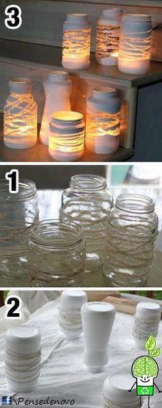 New Ideas For Diy Decoracion Hogar Manualidades Mason Jar Crafts, Bottle Crafts, Mason Jars, Bottles And Jars, Glass Jars, Diy And Crafts, Crafts For Kids, Creation Deco, Diy Candles