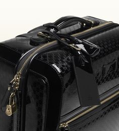 microguccissima patent leather carry-on suitcase