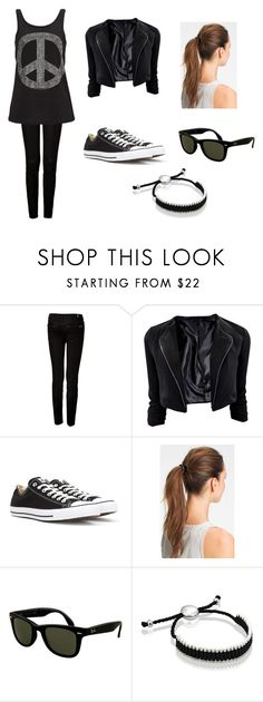 """""""Black"""" by iloveseventeen ❤ liked on Polyvore featuring beauty, 7 For All Mankind, Converse, L. Erickson, Rayban and Links of London"""