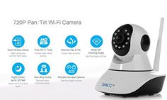 SANCC™ 720p Security IP Camera Home Surveillance Camera Wireless WiFi IP Camera, Baby Monitor Video Recording Pan Tilt Remote Motion Detect Alert Two-Way Audio Night Vision Micro SD Card Black