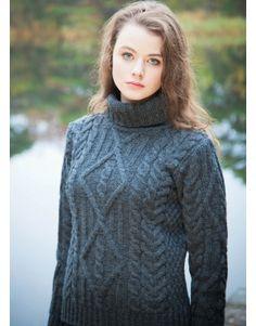 Aran Cable Merino Turtleneck Sweater