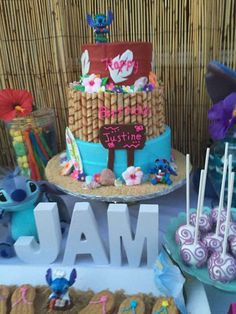 Lilo and Stitch Hawaiian luau birthday party cake! See more party ideas at CatchMyParty.com!