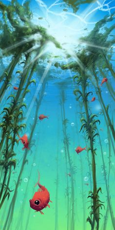 Underwater life by E-sketches on DeviantArt Underwater Drawing, Ocean Underwater, Ocean Art, Underwater Photos, Landscape Sketch, Fantasy Landscape, Fantasy Kunst, Fantasy Art, Deviantart