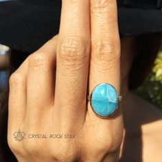 Wear this beautiful genuine Larimar ring set in 925 sterling silver to channel your inner Atlantian mermaid and to connect with dolphin energies!