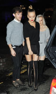 Party scene: The Little Mix star, who was celebrating bandmate Jade Thirlwall's 23rd birth...