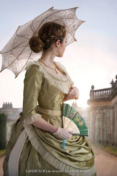 Lee Avison HISTORICAL WOMAN WITH PARASOL BY COUNTRY HOUSE Women