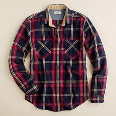 Wallace & Barnes heavyweight flannel shirt in Lynde Point plaid $98