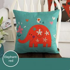 Find More Pillow Case Information about Fashion Linen Cushion Cover Pillow Case Home Decorative  Pillowcase Bedroom Pillowcover 45*45cm Elephant Red,High Quality cushioned slippers,China sofa cover Suppliers, Cheap sofa cushion filler from Winne on Aliexpress.com