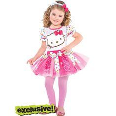 girls pink hello kitty costume with headband halloween city - Halloween Hello Kitty Costume