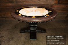 The Nighthawk round black gloss furniture poker table - BBO Poker Tables Custom Tables, Poker Night, Poker Table, Scotch, Rooms, Fun, Furniture, Black, Home Decor